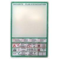 Support en plexiglas pour plan d'évacuation avec consignes de sécurité incendie