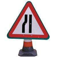 """Panneau pour cône de chantier """"Chaussée rétrécie par la gauche"""""""