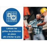 Poster de sécurité - Laissez les grilles de protection en place - M027