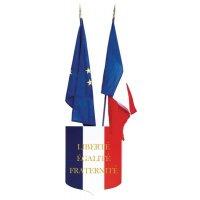 Blason avec devise et drapeaux français et européen pour écoles