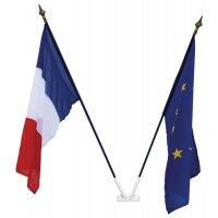 Drapeaux français et européen avec porte-drapeau pour écoles