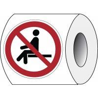 Autocollants repositionnables ISO 7010 - Ne pas s'asseoir ici - P018