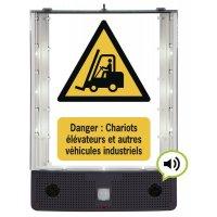 Panneau avertisseur sonore et visuel de danger véhicule de manutention