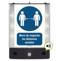 Panneau avertisseur sonore et visuel de distance sociale