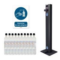 """Kit gels hydroalcooliques + distributeur + panneau """"Désinfection des mains obligatoire"""""""
