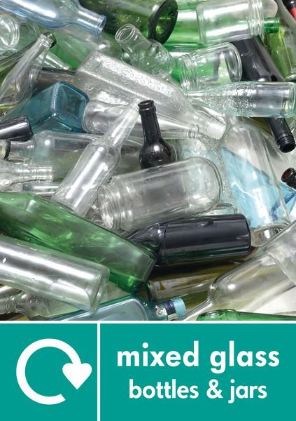 Mixed Glass - WRAP Glass Waste Recycling Pictorial Signs