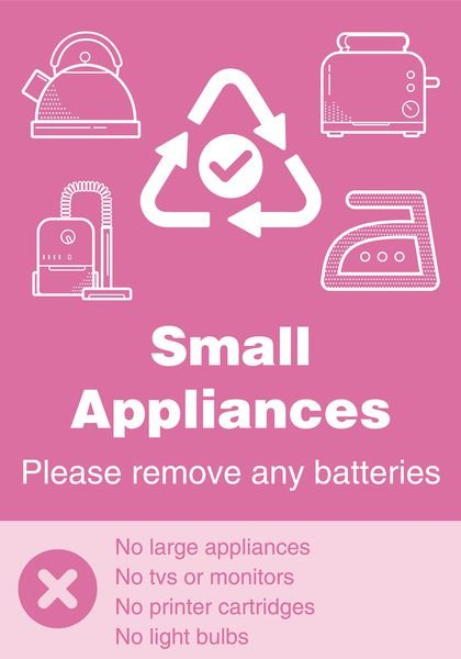 Small Appliances - WRAP Yes/No Recycling Symbol Sign