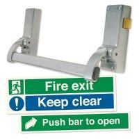 Single Door Panic Latch & Signs Kit