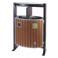 Ajax Outdoor Two Compartment Natural Recycling & Waste Bin