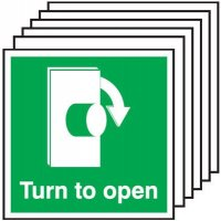 6-Pack Turn To Open Signs - Clockwise