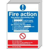 6-Pack Fire Action Signs (Standard)