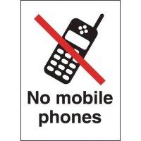 Metal Look Signs - No Mobile Phone