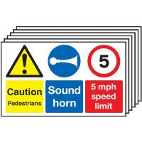 6-Pack Caution Pedestrians/Sound Horn/5mph Multi-Signs