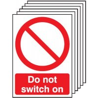 6-Pack Do Not Switch On Signs