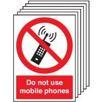 6-Pack Do Not Use Mobile Phones Signs