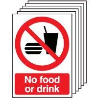 6-Pack No Food Or Drink Signs