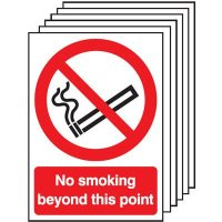 6-Pack No Smoking Beyond This Point Signs