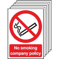 6-Pack No Smoking Company Policy Signs