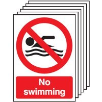 6-Pack No Swimming Signs