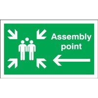 Assembly Point (Group & Arrow Left Symbols) Signs