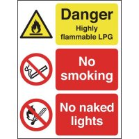 Danger Highly Flammable LPG/No Smoking Outdoor Signs
