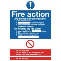 Deluxe Fire Action Standard Signs