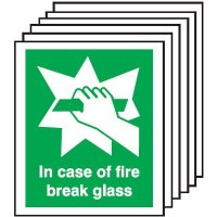6-Pack In Case Of Fire Break Glass Safety Signs