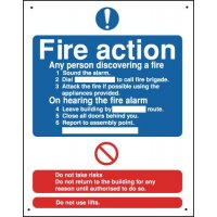 Fire Action Vandal-Resistant Sign