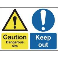 Caution Dangerous Site & Keep Out Multi-Message Signs