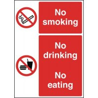 No Smoking No Drinking No Eating Multi-Message Signs