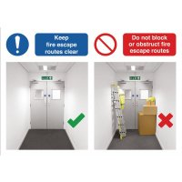 Keep Fire Escape Routes Clear Do & Don't Visual Signs