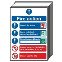 6-Pack Fire Action Signs (With Symbols)