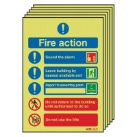 6-Pack Nite-Glo Fire Action (Symbols) Signs
