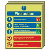 6-Pack Xtra-Glo Aluminium Fire Action Signs