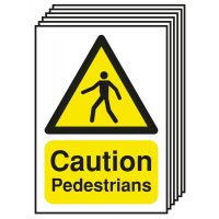 6-Pack Caution Pedestrians Signs
