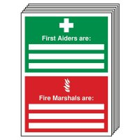 6-Pack First Aiders Are/Fire Marshals Are Update Signs