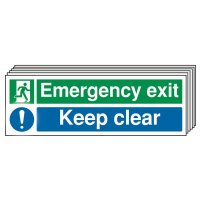 6-Pack Emergency Exit Keep Clear Multi-Message Signs