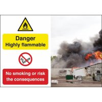 Danger Highly Flammable No Smoking Consequence Signs