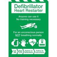 Defibrillator Heart Restarter Instruction Poster