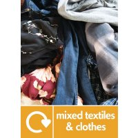 Mixed Textiles & Clothes Wrap Textile Recycling Pictorial Signs