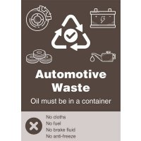 Automotive Waste - WRAP Recycling Yes/No Symbol Sign