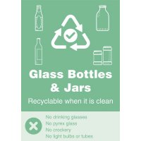 Mixed Glass - WRAP Yes/No Recycling Symbol Sign