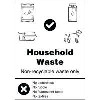 Household Waste - WRAP Yes/No Recycling Symbol Sign