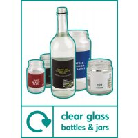 Clear Glass Bottles & Jars - WRAP Photographic Recycling Signs