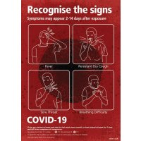 COVID-19 - Recognise The Signs Sign (Red)