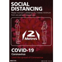 Social Distancing - Please Maintain A Distance Of 1M+/2 Metres Sign (Black & Red)