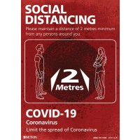 Social Distancing - Please Maintain A Distance Of 1M+/2 Metres Sign (Red)