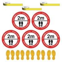 Social Distancing - Please Stand 2m Apart Floor Sign & Footprint Kit