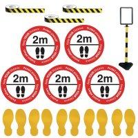 Indoor Social Distancing - Sign Holder & Yellow Floor Marking Kit