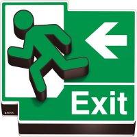 Fire Exit Running Man Left Arrow 3D Floor Sign